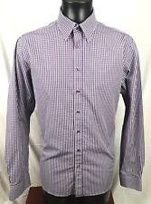 "mens thomas pink check shirt 16.5"" collar purple white"