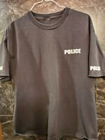 Vintage POLICE Black T Shirt Large Mens Free Shipping