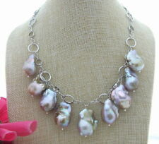 "FC051410 17"" 25MM Natural Purple Keshi Pearl Necklace"