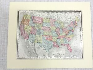 1901 Antique Map of The United States of America Americana USA Rand McNally & Co