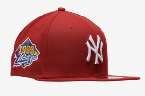 New Era New York Yankees 1999 WS Patch 59FIFTY Red Fitted Hat Size 7 1/8 Gray UV