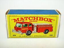 """Matchbox Regular Wheels No 29 Fire Pumper Truck """"E4"""" Type Empty Box Excellent"""