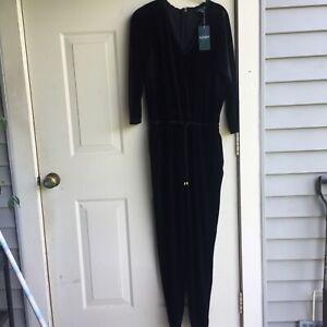 NWT $165 Ralph Lauren black velvet jumpsuit size M
