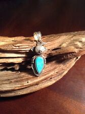 Native American Navajo Bennie Ration  Silver Blue Turquoise 3D  Kachina Pendant