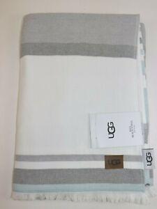 NWT $95 UGG HOME 70x40 Seal & White Striped BAJA BEACH French Terry Towel