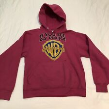 Vintage If you see the Police Warn a Brother Hoodie Pink Hooded Sweatshirt Small