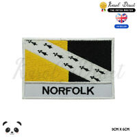 NORFOLK England County Flag With Name Embroidered Iron On Sew On Patch Badge