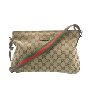 GUCCI Sherry Line GG Canvas Cross Body Shoulder Bag Beige Red Green Auth yk1544