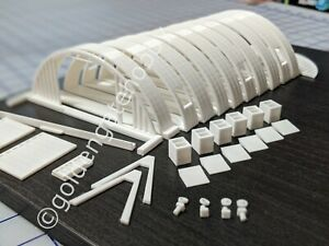HO Scale Modular Quonset Building / Hut Kit, White, HIGH QUALITY, In Stock!