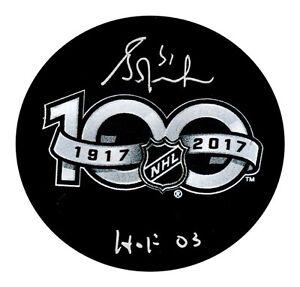 GRANT FUHR AUTOGRAPHED NHL CENTENNIAL PUCK W/HOF 03 EDMONTON OILERS