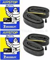 (2) Two Michelin Airstop 700x18-23-25 XL 80mm Presta Valve Road Bike Tubes 700c