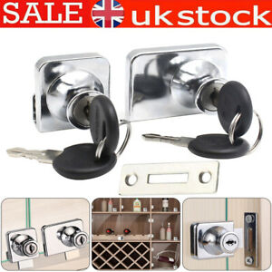Zinc Alloy Locks Glass Display Cabinet Showcase Lock with 2 Keys for 5-8mm Glass