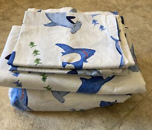 Pottery Barn Kids Organic Shark Bite Full 4pc Sheet Set, Ocean
