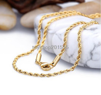 Yellow Gold Tone Men/Women's 2-4mm Rope Chain Stainless Steel Necklace 45-101cm