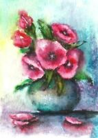 ACEO Red flowers vase abstract original painting art card