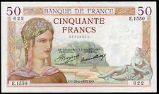 50 francs ; CERES , émis le 25.4.1935 ; FAY# 17/8.