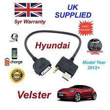 For Hyundai Veloster iPhone 3gs 4 4s iPod USB & 3.5mm Aux Cable MY 2012+