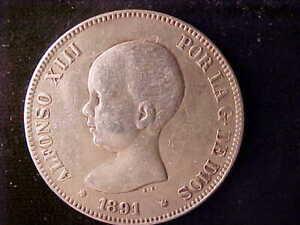 SPAIN 5 PESETAS 1891(91)
