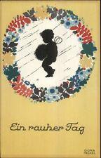 Fantasy - Fairy Child Silhouette EIN RAUCHER TAG Dora Heckel Art Deco Postcard