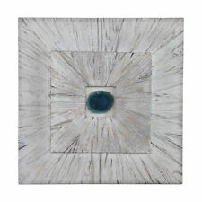 Turquoise Blue Agate Stone Wall Art Square   Modern Sculpture Light Wood Panel
