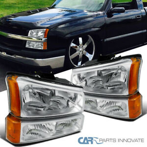 Fit 03-07 Chevy Silverado Avalanche Pickup Clear Headlights+Parking Bumper Lamps