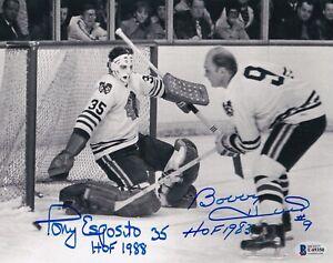 BECKETT BOBBY HULL & TONY ESPOSITO DUAL SIGNED CHICAGO BLACKHAWKS 8X10 PHOTO 350