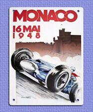 Placa Letrero de Metal Estilo Retro Vintage Monaco Motor Racing anuncio Tin 20 X 15 Cm