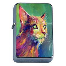 Cat Art Em5 Flip Top Oil Lighter Wind Resistant With Case