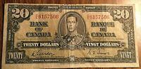 1937 CANADA 20 DOLLARS BANK NOTE - D/E - Gordon / Towers