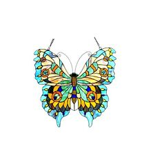 Tiffany Style Butterfly Design Stained Glass Window Panel Matching PAIR