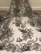 """GREY MESH EMBROIDERY SEQUINS BEIDAL LACE FABRIC 50"""" WiIDE 1 YARD"""