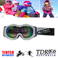 WHITE Children Kids Snowboard Skiing Skating Snow Goggle UV Protection Tinted