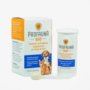 Profauna 100 Probiotic Prebiotic Supplement Dogs Cats 30 Grams 100 Billion CFU