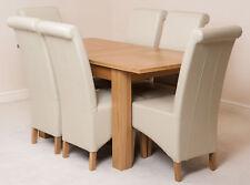 Hampton Oak 120cm Extending Dining Room Table & 6 Black Leather Montana Chairs Ivory