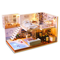 DIY Dollhouse Miniature Furniture Kit Wood Doll House Toy LED Lights