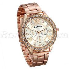 Men Stainless Steel Rose Gold Tone Rhinestone Arabic Numberal Quartz Wrist Watch