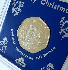 2004 Isle of Man Christmas Xmas Card Keepsake 50p Coin (BU) Gift in Display Case