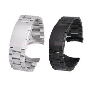 Men's Stainless Steel Solid Links Watch Band Strap Bracelet Curved End 20 22 mm