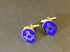New Pair MASONIC Blue & Gold Square & Compass CUFFLINKS Freemason Regalia Mason