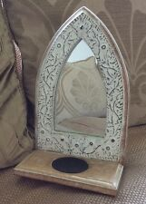 Vintage Rustic Wooden Ecclesiastical / Gothic Style Candle Holder With Mirror