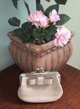 Coach Leather Coin Purse Wallet Framed Kisslock  Bow Beige Brown F63264 W8