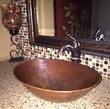 "17"" Oval Hand Hammered Copper Vessel Bathroom Sink"