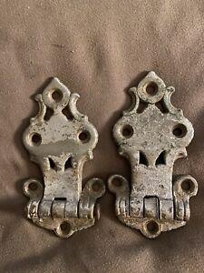 2 Antique Decorative Metal Ice Box Door Hinge Hardware.   Marked 2884. Set Of 2.