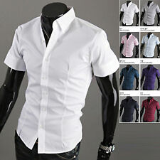 Mens New Fashion Luxury Short Sleeve Business Casual Dress Shirts Formal E338