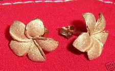 Hawaiian Plumeria Flower Hawaii Earring 14K Yellow Gold