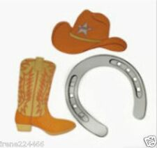 3 pc Western Cutout Assortment 12� cardboard Boots Hat Horseshoe Craft New