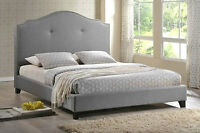 Modern Queen Or King Scalloped Platform Bed Gray Grey Linen Silver Nail Head