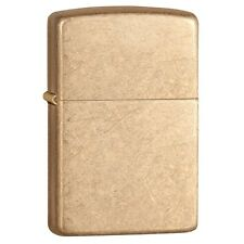 Zippo 28496, Armor, Tumbled Brass Finish Lighter, ***6 Extra Flints/Wick***