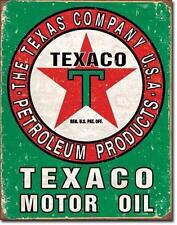 Texaco Motor Oil USA Tankstellen Metall Werbung Schild im Vintage Design Grün