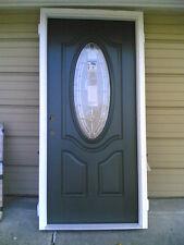 "New: Elegant Home 36""x80"" Fiberglass Exterior Door w/ Oval Glass & Wood Frame"
